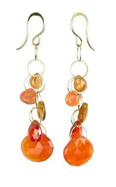 Fire Opal and Agate drop earrings by Melissa Joy Manning
