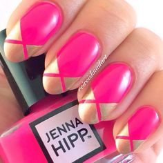 classic hot pink & gold french tips using striping tape, great color combo by reireishnailnart