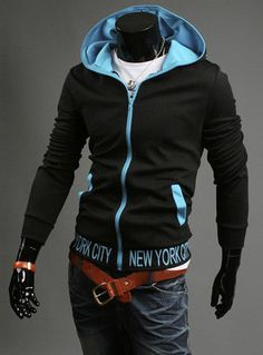 Fashion Zip Up Hooded Color Block Long Sleeve Fleece Hoodie For Men – teeteecee - fashion in style