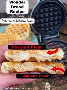 This is the BEST KETO BREAD I've tried! This is the BEST Keto bread! It's the closest thing to real bread I've tried since starting keto! Here's a really good post about the differences in flours you can use! Wonder Bread Recipe, Recipes Using Coconut Flour, Coconut Flour Waffles, Aperitivos Keto, Keto Flour, Waffle Maker Recipes, Best Keto Bread, Keto Waffle, Waffle Iron