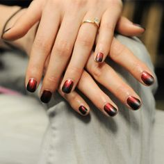 OK, So Maybe Nail Art Isn't Dead: NYFW Fall 2014 Runway Edition: Nicole Miller: Katie Jane Hughes for butter London used Union Jack Black and ombre'ed it with Knees Up to make a flame pattern.