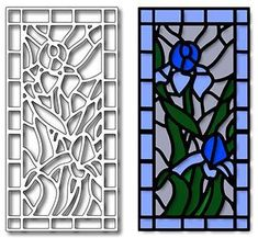 """If you love inlay work, you will love this series of stained glass inspired dies. But there are also dozens of other techniques to use to create the lovely stained glass effect. Cut the die with black or pewter colored cardstock and glue it to acetate. Color the acetate with Copic markers to create the glass look. Another idea is to use different colors of glitter in the spaces.The Iris Stained Glass measures 2"""" x 4"""" Needlepoint Pillows, Needlepoint Kits, Needlepoint Canvases, Mill Hill Beads, Punch Needle Kits, Frantic Stamper, Pewter Color, Bead Kits, Glue Crafts"""