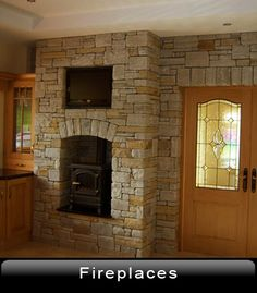Stone fireplace with stove and tv Decor, Stone Fireplace, Stove, Sitting Room, Stanley Stove, Home Decor, Room, Fireplace
