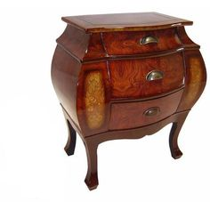 Three Drawer Light Brown Solid Wood Curved Cabinet, Side Table, End Table