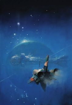 "Almost completely filled with what I call ""sci-fi blue,"" which seems so popular in sci-fi art from years ago. It's kind of the general color of the Earth's sky (when it's not so polluted....) --Pia (John Harris)"