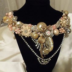 Formal Rhinestone Statement Necklace, Stunning Statement Wedding Necklace, Vintage couture upcycle jewelry, LAYAWAY PLANS. $297.00, via Etsy.