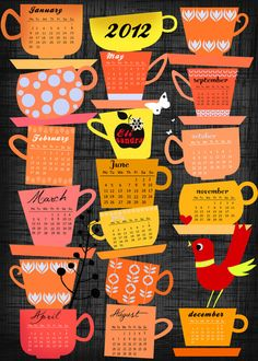 Cute calendar idea.  Stapled Cups Calender 2012  by Elisandra