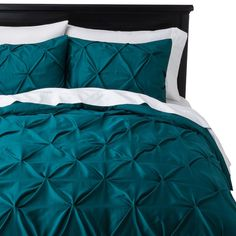 Teal bed set, Target. Threshold Pinched Pleat Duvet Cover Set