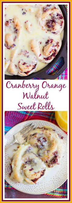 Pillowy soft and squishy sweet rolls, filled with a tart and sweet spread of cranberries, orange juice, and walnuts, drenched in fresh orange glaze! Orange Cinnamon Rolls, Orange Sweet Rolls, Thanksgiving Recipes, Holiday Recipes, Breakfast Recipes, Dessert Recipes, Dessert Bread, Eat Breakfast, Recipes Dinner
