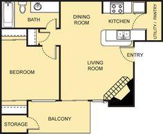 Van Gogh Floor Plan - 1 Bath with approximately 581 square feet. Bedroom Balcony, Living Room Bedroom, 2 Bedroom Floor Plans, Small Studio, Kitchen Pantry, Van Gogh, Square Feet, Bath, Flooring