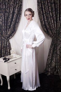 Flirty Thirtys floor length Hollywood satin robe. Mmmmmm Satin Sleepwear 1de85fdb1