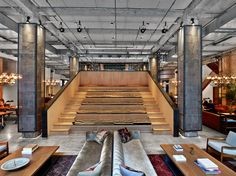 NeueHouse, a co-working space in New York. Creates a sense of community in the workplace while simultaneously attracting diversity. Could be expanded to include co-habitation.