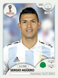 Sergio Aguero of Argentina. 2018 World Cup Finals card. Football Icon, Sport Football, Football Players, Argentina World Cup, Argentina Soccer, World Cup 2018 Teams, Fifa World Cup, Soccer Cards, Football Cards