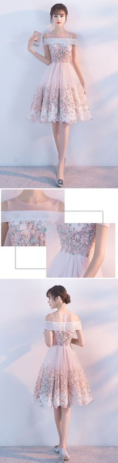 Short Homecoming Dress, Tulle Homecoming Dress, Knee-Length Homecoming Dress, Applique Junior School Dress, Beautiful Homecoming on Storenvy Lovely Dresses, Elegant Dresses, Casual Dresses, Short Dresses, Fashion Dresses, Formal Dresses, Fashion Clothes, Clothes Women, Pretty Homecoming Dresses
