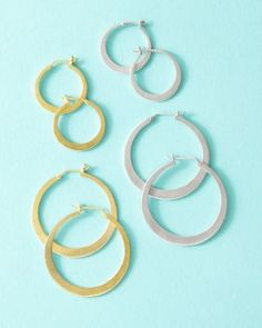 Hoop Earrings, big, small, yellow or white gold