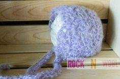 Lilac Mohair Bonnet 03 Months by RockNWool on Etsy, $20.00