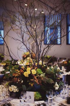 Branches, moss, woodland, table centre. {intense but dramatic}
