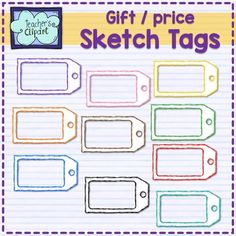 The Price / Gift TAGS Clip art sketch} Clipart Set has 10 images to represent…