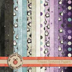 Frozen Textured Papers Instant Download! Snow, Penguin, Purple, Blue, Cream, Gray, Black, Lavender Digiscrap, Digital Papers, textured papers