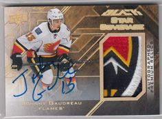 2015-16 UD BLACK STAR COVERAGE RELICS GOLD PATCH AUTOGRAPH JOHNNY GAUDREAU 4/10