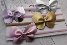 Gold Butterfly Leather headband Silver Pink One size headband