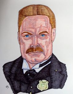 Suzanne Berton (©2014 suzanne-berton.com) Inspector Brackenreid who is Actor Thomas Craig of Murdoch Mysteries portrait drawing using fine artist markers on acid free drawing paper  unframed