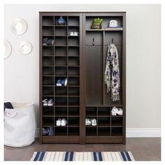 Prepac Freemont Shoe Storage | 1000 Shoe Storage Rack, Corner Storage, Storage Bins, Storage Spaces, Tall Cabinet Storage, Storage Ideas, Shoe Rack, Home Office Organization, Organizing Your Home