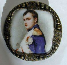 Lg Antique Napoleon Portrait Porcelain Button w/Fancy Brass Border
