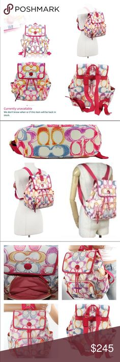 """Coach Scribble Drawstring Backpack SOLD OUT EVERY WHERE! EUC RARE Coach Signature Scribble Drawstring Backpack in White & Bright Beautiful Multi Color """"C"""" Hot Pink Patent Leather Handle & Trim! It has adjustable Hot Pink straps! SOLD OUT! It's lined in pink, multiple slip pockets, the exterior has slip pockets at each end & a zip pocket in front. It has magnetic snap closure Generous w/ room & it's adorable in the bright colors Measures 14 X 12 X 5 handle is 5"""" drop no stains or rips…"""