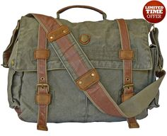 "17"" Laptop Army Green Leather & #Canvas #Messenger Bag #Serbags"