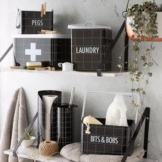 Kmart laundry containers Storage for the laundry Laundry Decor, Laundry Hacks, Laundry In Bathroom, Bathroom Sets, Laundry Design, Bathroom Inspo, Kmart Home, Kmart Decor, Modern Home Interior Design
