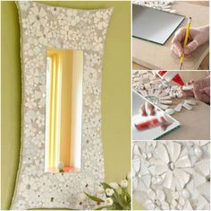 How to DIY Mosaic Flower frame from Recycled Ceramic | www.FabArtDIY.com