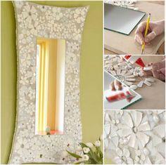How to DIY Mosaic Flower frame from Recycled Ceramic | www.FabArtDIY.com