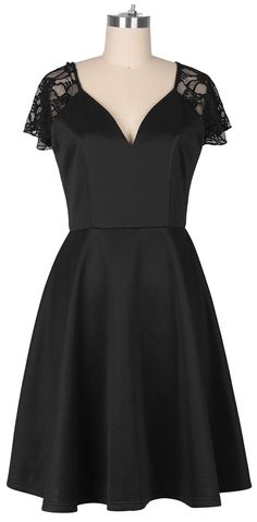 I'd go out every night. The Dress is black and features an drop shoulder design, structured plunging V neckline, enclosed zipper at back, midi length and lace splicing. Let's go out tonight with Cupshe.com