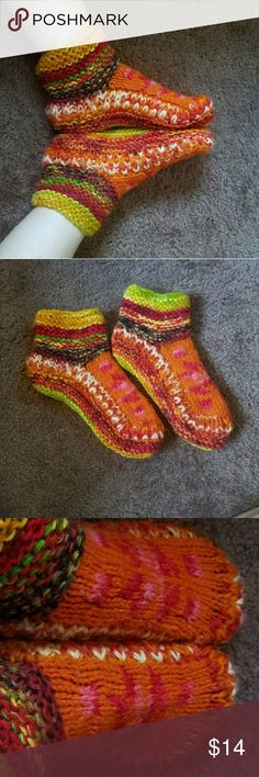 Warm soft handmade winter socks! These are handmade (not by me, i wish lol) Very beautiful and vibrant colors Lined with a very soft liner inside (last picture)  No flaws Super warm, i guarantee your feet will not get cold! There's no anti slip sole or anything so don't go sliding into the kitchen k 🤗 also i wear a size 10 and these fit perfect but they'd probably fit a 6-10 handmade Accessories Hosiery & Socks