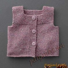 """Knit baby vest, garter stitch with pompoms, soft merino wool by TIENenMIEP on Etsy"", ""This post was discovered by Auš"" Crochet Baby Jacket, Knit Baby Dress, Knit Baby Sweaters, Knitted Baby Clothes, Cardigan Bebe, Baby Cardigan, Knit Vest Pattern, Sweater Knitting Patterns, Pull Bebe"
