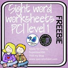 This FREEBIE product is a set of 5 practice worksheets covering the first 5 words taught in Level 1 of the PCI Reading Program. This program is often used in classrooms of students with disabilities but the words used in the program are basic sight words that are included on lists such as Frys Sight Word List and Dolch Sight Words.