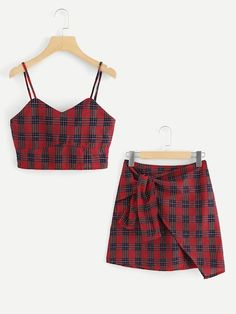Checked Cami Top With Asymmetrical Hem SkirtFor Women-romwe Girls Fashion Clothes, Teen Fashion Outfits, Cute Fashion, Outfits For Teens, Fashion Styles, Cute Comfy Outfits, Cute Summer Outfits, Stylish Outfits, Cool Outfits