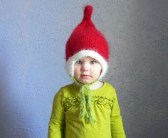 Elf hat costume, 1 - 2 year size Cindy Lou Who hat Knit girl Hat, knit pixie baby Hat, elf Hat, Infant Hat, Baby Boy Hat