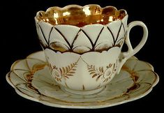 """CUP & SAUCER, porcelain, Germany, molded body, gold gilt, 3""""t, c1900"""