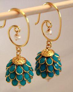 Dangler Earrings Jhumkas by shopAraish on Etsy, Jewelry Design Earrings, Designer Earrings, Jewelry Accessories, Gold Earrings, Tassel Earrings, Etsy Earrings, Bridal Jewelry, Silver Jewelry, Silver Ring