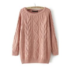 SheIn(sheinside) Cable Knit Loose Pink Sweater ($19) ❤ liked on Polyvore featuring tops, sweaters, pink, sheinside, loose pullover sweater, cable pullover, cable sweater, pink sweater and acrylic sweater
