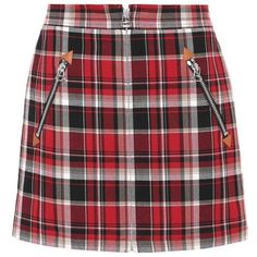 Rag & Bone Plaid Cotton Miniskirt (1085 TND) ❤ liked on Polyvore featuring skirts, mini skirts, bottoms, multicoloured, plaid mini skirt, cotton skirts, red tartan skirt, tartan skirt and plaid miniskirts