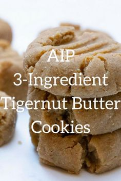 Tigernut Butter Cookies (AIP, Paleo) Makes: 9 cookies Prep time: 5 mins Cook time: mins Ingredients: 1 cup Tigernut Butter we used this brand for this recipe Roots Classic Tigernut Butter cup coconut flour cup maple syrup Paleo Desert Recipes, Paleo Recipes, Real Food Recipes, Flour Recipes, Paleo Cookies, Paleo Treats, Vegan Bread Brands, Paleo Dessert, Dessert Recipes