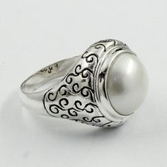 PEARL STONE ATTRACTIVE DESIGN 925 STERLING SILVER RING #SilvexImagesIndiaPvtLtd #Statement