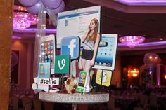 Technology Themed Diorama Centerpiece for Everything Girl Bat Mitzvah Bat Mitzvah Centerpieces, Graduation Party Centerpieces, Bar Mitzvah Themes, Bat Mitzvah Party, Techno Party, 13th Birthday Parties, 14th Birthday, Instagram Party, Geek Party