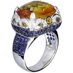 18k white gold citrine, blue sapphire, & diamond ring