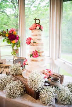 "Rebekah's gorgeous ""naked cake"" for her May wedding here at Aldridge Gardens."