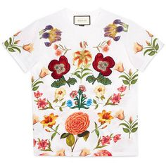 Gucci Flower Print Cotton Tee ($795) ❤ liked on Polyvore featuring tops, t-shirts, floral print tee, floral print tops, gucci t shirt, classic fit t shirts and white cotton t shirts