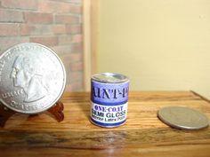 "Dollhouse Miniature 1:12 Paint Can Metal Empty Gallon 5/8th"" Tall Blue #J4-4 #TownSquareMiniatures"